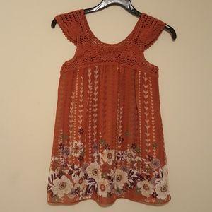 Women's Sleeveless Crocheted, Layered Top